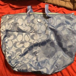 Baby blue overnight Coach duffel